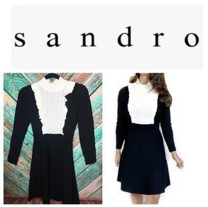 Sandro Dounia Long Sleeve Ruffle Knit A-Line Dress